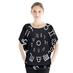 Astrology Chart With Signs And Symbols From The Zodiac Gold Colors Blouse