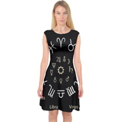 Astrology Chart With Signs And Symbols From The Zodiac Gold Colors Capsleeve Midi Dress