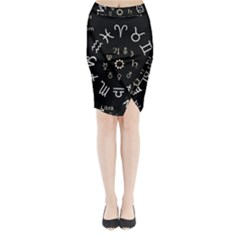 Astrology Chart With Signs And Symbols From The Zodiac Gold Colors Midi Wrap Pencil Skirt