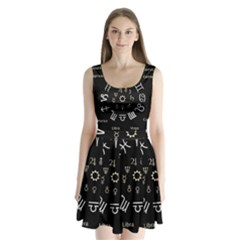 Astrology Chart With Signs And Symbols From The Zodiac Gold Colors Split Back Mini Dress