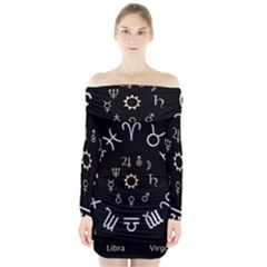 Astrology Chart With Signs And Symbols From The Zodiac Gold Colors Long Sleeve Off Shoulder Dress