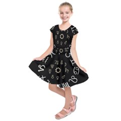 Astrology Chart With Signs And Symbols From The Zodiac Gold Colors Kids  Short Sleeve Dress