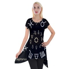 Astrology Chart With Signs And Symbols From The Zodiac Gold Colors Short Sleeve Side Drop Tunic