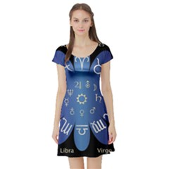 Astrology Birth Signs Chart Short Sleeve Skater Dress