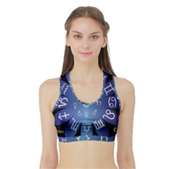 Astrology Birth Signs Chart Sports Bra With Border