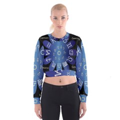 Astrology Birth Signs Chart Women s Cropped Sweatshirt