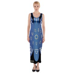 Astrology Birth Signs Chart Fitted Maxi Dress