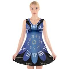 Astrology Birth Signs Chart V Neck Sleeveless Skater Dress