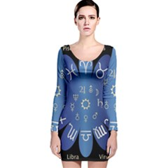 Astrology Birth Signs Chart Long Sleeve Velvet Bodycon Dress