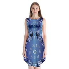 Astrology Birth Signs Chart Sleeveless Chiffon Dress