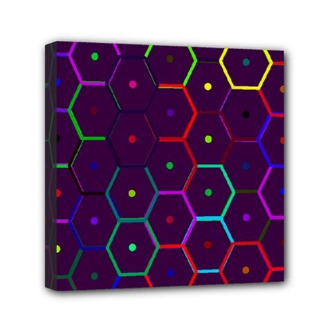 Color Bee Hive Pattern Mini Canvas 6  X 6