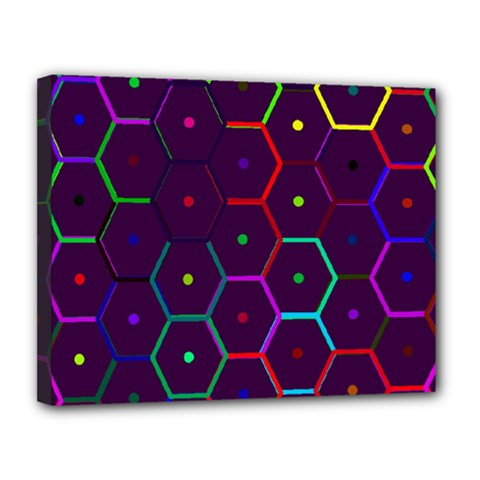 Color Bee Hive Pattern Canvas 14  X 11