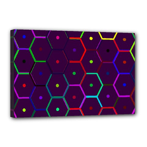 Color Bee Hive Pattern Canvas 18  X 12