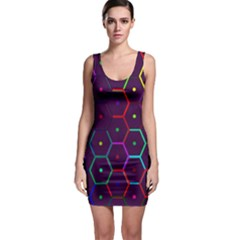 Color Bee Hive Pattern Sleeveless Bodycon Dress