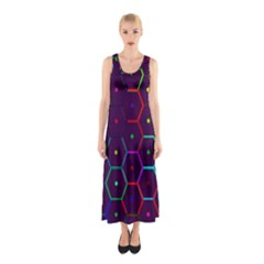 Color Bee Hive Pattern Sleeveless Maxi Dress