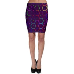 Color Bee Hive Pattern Bodycon Skirt