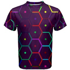 Color Bee Hive Pattern Men s Cotton Tee