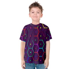 Color Bee Hive Pattern Kids  Cotton Tee