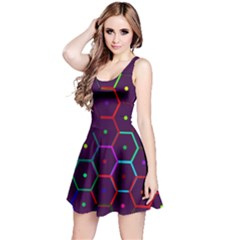 Color Bee Hive Pattern Reversible Sleeveless Dress