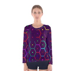 Color Bee Hive Pattern Women s Long Sleeve Tee