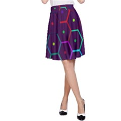 Color Bee Hive Pattern A Line Skirt
