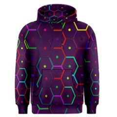 Color Bee Hive Pattern Men s Pullover Hoodie