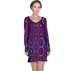 Color Bee Hive Pattern Long Sleeve Nightdress