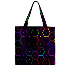 Color Bee Hive Pattern Zipper Grocery Tote Bag