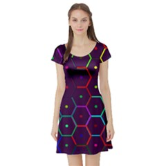 Color Bee Hive Pattern Short Sleeve Skater Dress