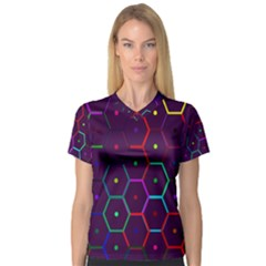 Color Bee Hive Pattern Women s V-Neck Sport Mesh Tee