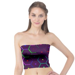 Color Bee Hive Pattern Tube Top
