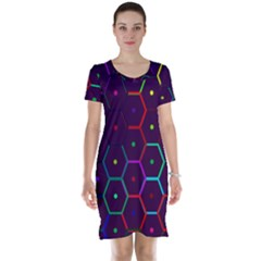 Color Bee Hive Pattern Short Sleeve Nightdress