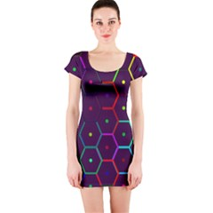 Color Bee Hive Pattern Short Sleeve Bodycon Dress