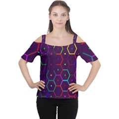 Color Bee Hive Pattern Women s Cutout Shoulder Tee