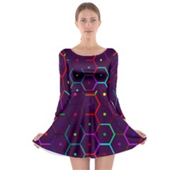 Color Bee Hive Pattern Long Sleeve Skater Dress