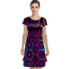 Color Bee Hive Pattern Cap Sleeve Nightdress