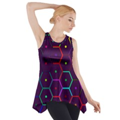 Color Bee Hive Pattern Side Drop Tank Tunic