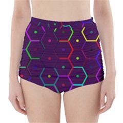 Color Bee Hive Pattern High Waisted Bikini Bottoms