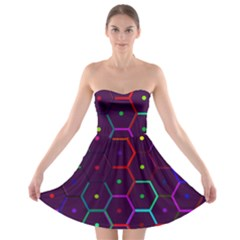 Color Bee Hive Pattern Strapless Bra Top Dress