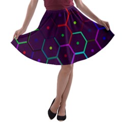Color Bee Hive Pattern A-line Skater Skirt