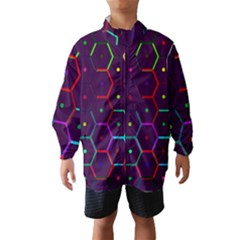 Color Bee Hive Pattern Wind Breaker (kids)