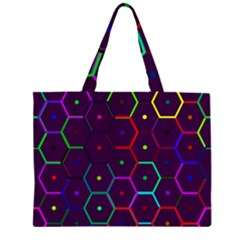 Color Bee Hive Pattern Large Tote Bag