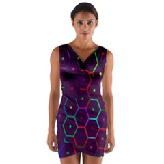 Color Bee Hive Pattern Wrap Front Bodycon Dress