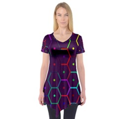 Color Bee Hive Pattern Short Sleeve Tunic