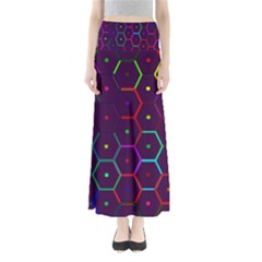 Color Bee Hive Pattern Maxi Skirts