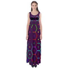 Color Bee Hive Pattern Empire Waist Maxi Dress