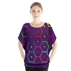 Color Bee Hive Pattern Blouse