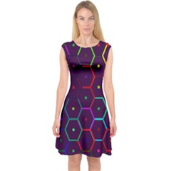 Color Bee Hive Pattern Capsleeve Midi Dress