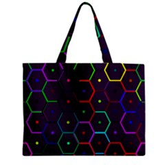 Color Bee Hive Pattern Medium Zipper Tote Bag