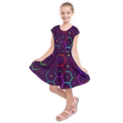 Color Bee Hive Pattern Kids  Short Sleeve Dress